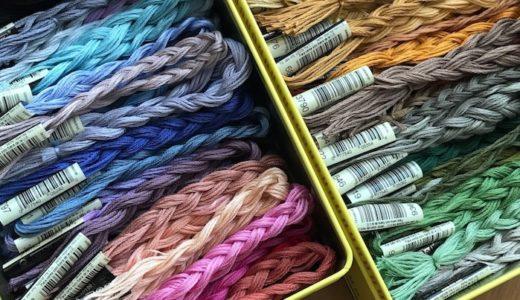 刺繍糸の収納方法を変更 : ジップロック個包から三つ編み&缶収納へ