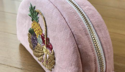 【オーダー】フルーツバスケットの刺繍ポーチ