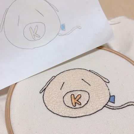 子供のイラスト刺繍