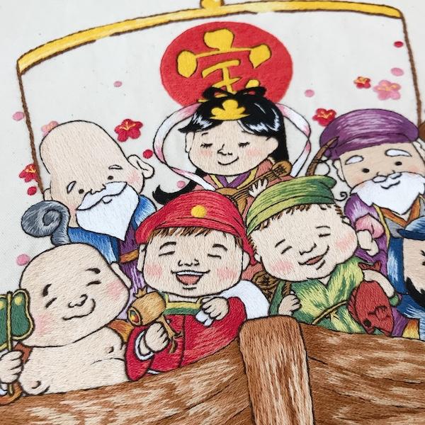 七福神刺繍タペストリー