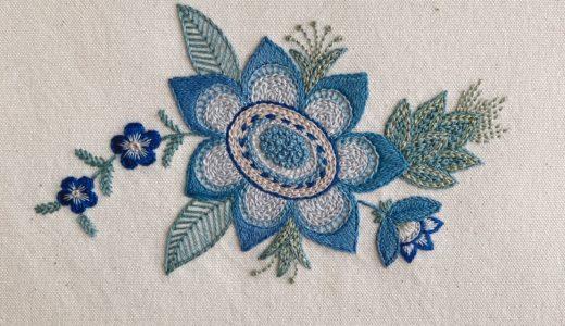 ブルーのレトロな花の刺繍
