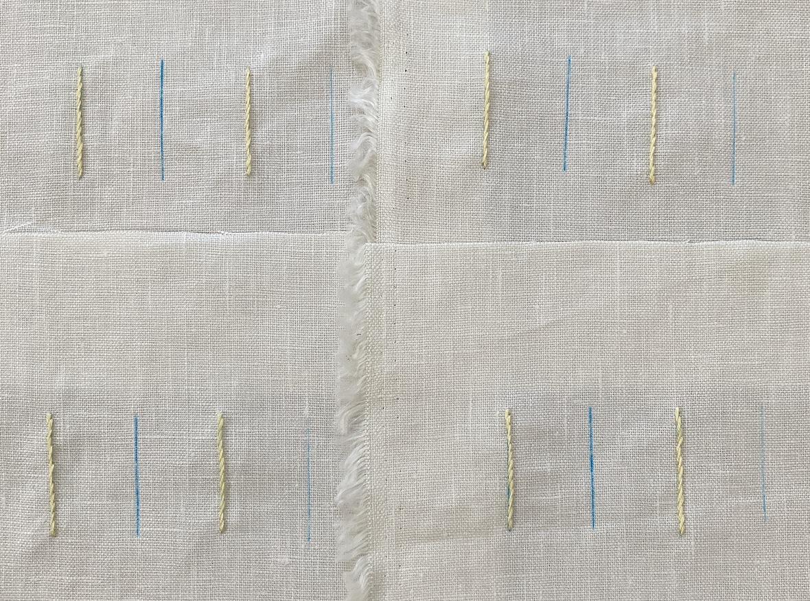 チャコペーパーの印上を刺繍