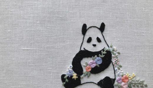 パンダ刺しゅう