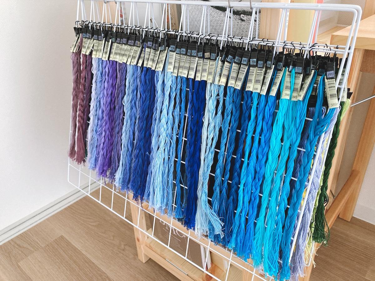 刺繍糸吊るし収納