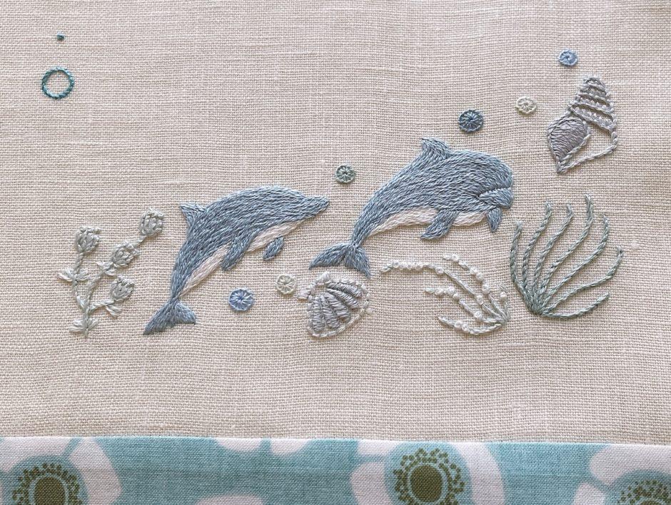 海をイメージした刺繍お名前旗