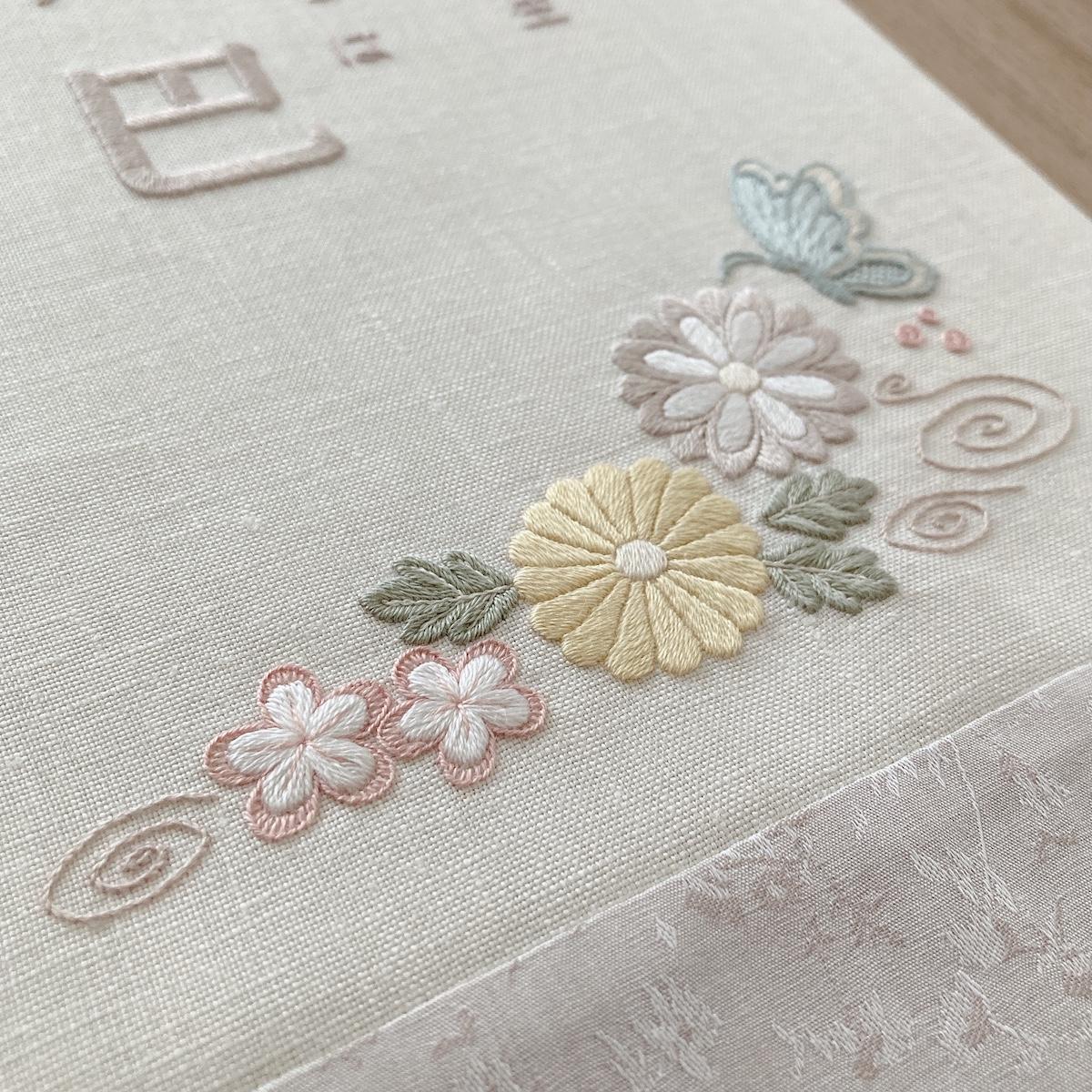 和テイストの花柄刺繍